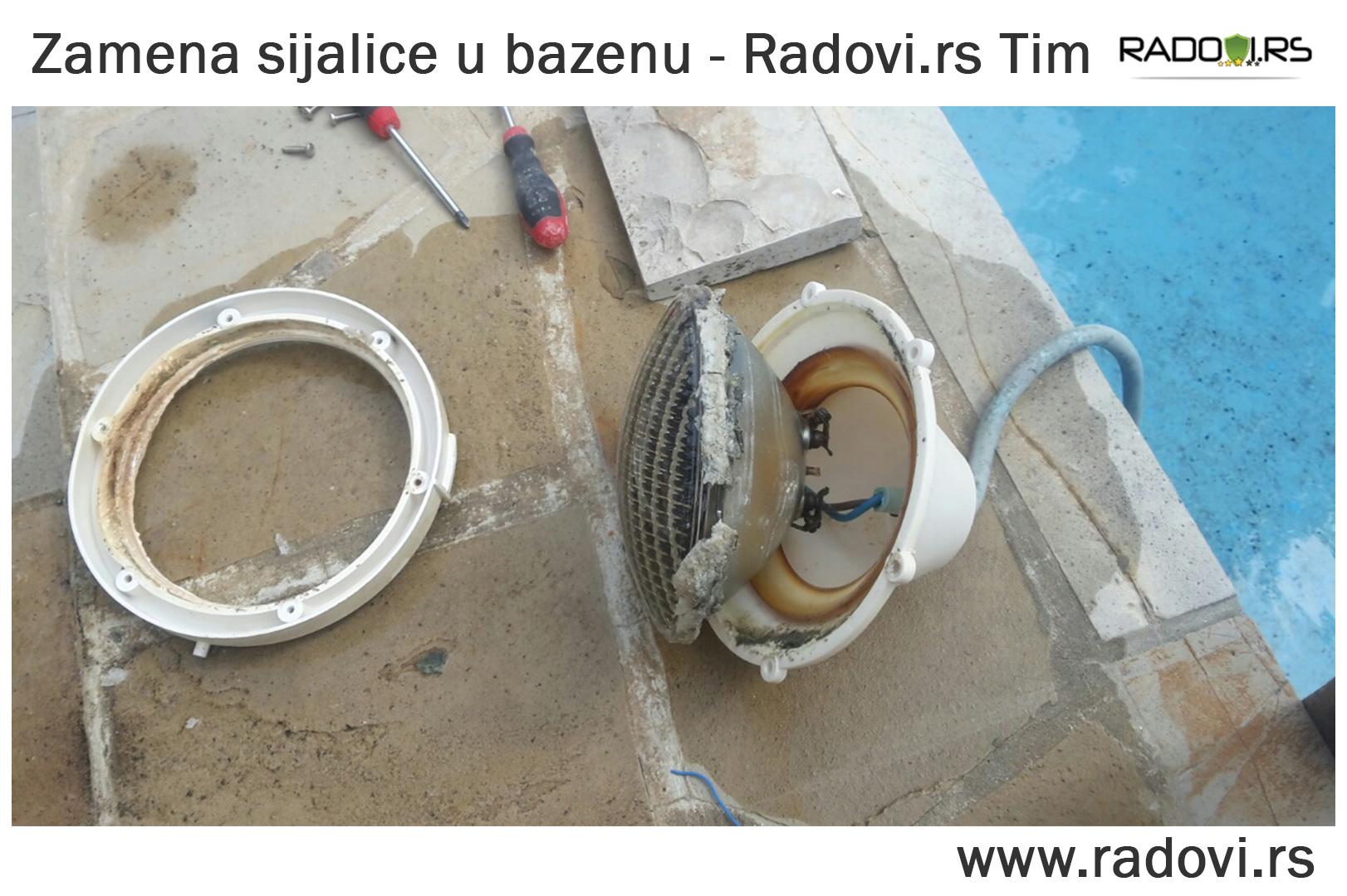 Zamena sijalice u bazenu - održavanje bazena - Radovi.rs Tim